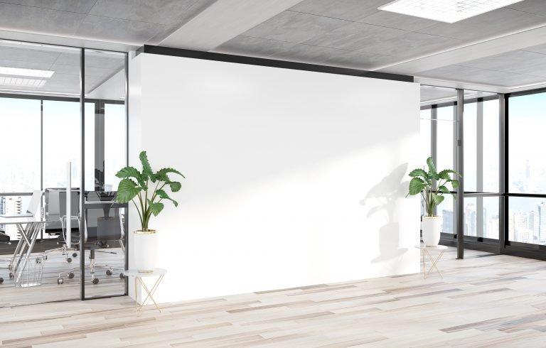 Blank wall in a modern office