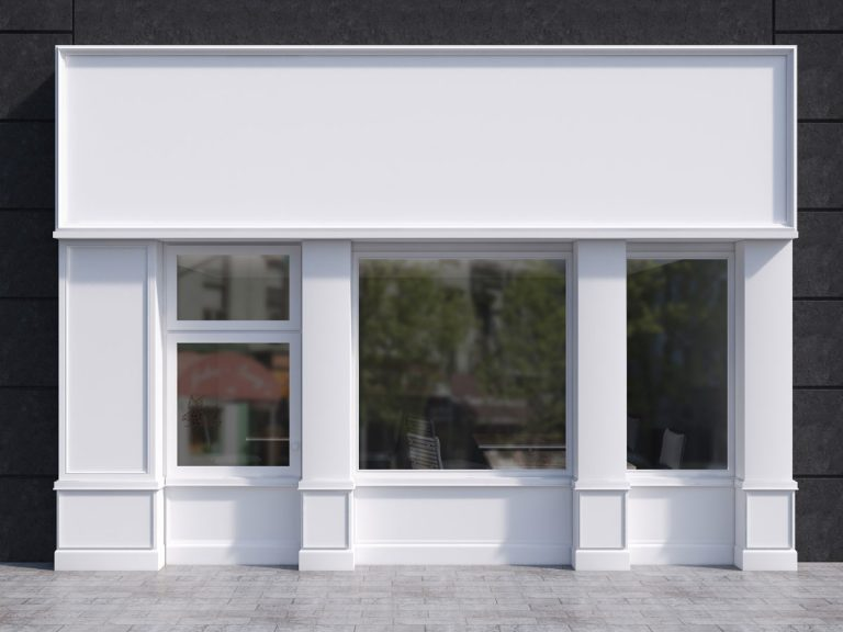 Outside view of a white building, or empty store