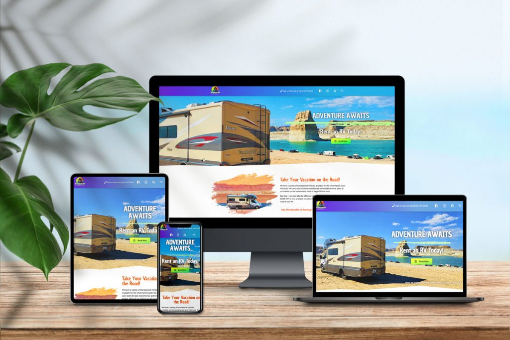 Mockup image of laptop, desktop, cellphone and a tablet. All with a website featured on the screen.